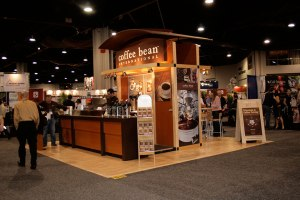 The smell of fresh coffee wafting over the tradeshow crowd made Coffee Bean's coffee shop-inspired booth a huge success
