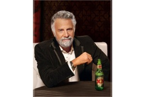 "The Most Interesting Man in the World campaign for Dos Equis beer features radio ads that make outrageous claims, delivered in a smooth, sophisticated voice over. ""he gave his father 'the talk'"" and ""Sharks have a week dedicated to him"" are two examples"