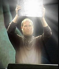 holding glowing computer