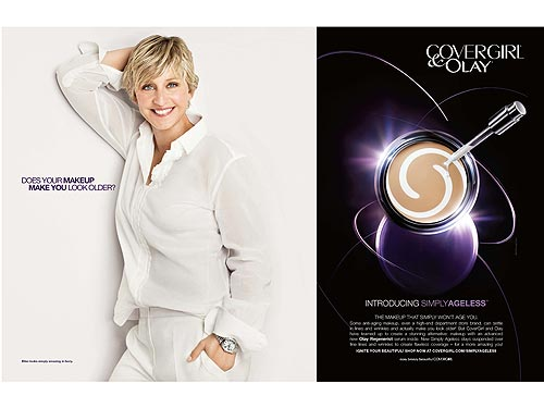 The CoverGirl/Ellen DeGeneres relationship includes TV spots, print ads, and cross-promotion between CoverGirl products and her talk show.